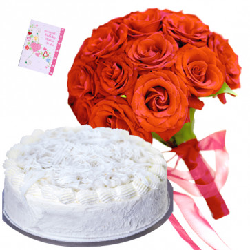 Considerable Choice - 6 Red Roses Bunch, 1/2 Kg Vanilla Cake + Card