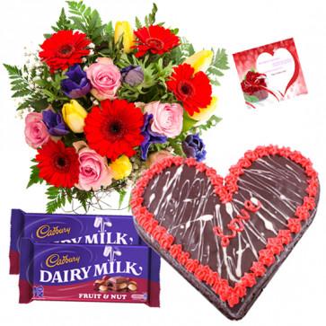 Appreciable Effort - 15 Mix Flowers Bunch, 1.5 KgChocolate Cake Heart Shape, 2 Fruit n Nut + Card