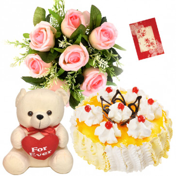 Significant Difference - 6 Pink Roses Bunch, 1/2 Kg Pineapple Cake, Teddy Bear 8 inch + Card