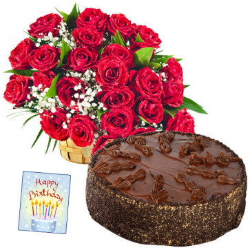 Ample Joy - 50 Red Roses  Basket, 1/2 Kg Chocolate Cake + Card