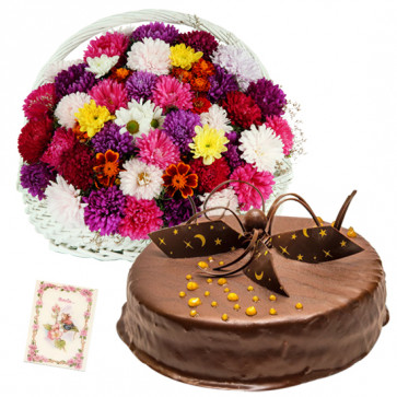 Dignified Gift - 20 Mix Carnations in Basket, 1/2 Kg Chocolate Cake + Card