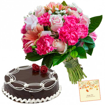Honour for You - 15 Pink Carnations,Roses and Gerberas, 1/2 Kg Chocolate Cake + Card