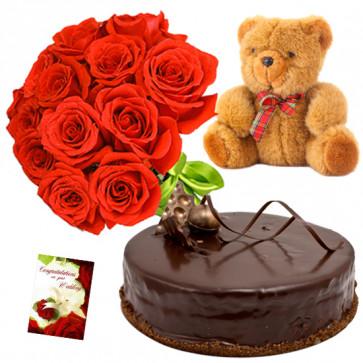 Enjoyable Treat - 15 Red Roses Bunch, 1/2 Kg Chocolate Cake, Teddy Bear 6 inch + Card