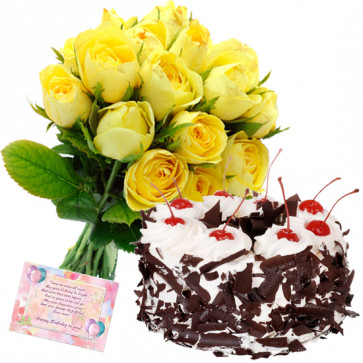 Fond of Love - 12 Yellow Roses Bunch, 1 Kg Black Forest Cake + Card