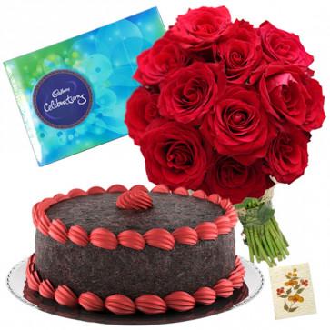 Tender Love - 12 Red Roses Bunch, 1/2 Kg Chocolate Cake, Cadbury Celebration + Card