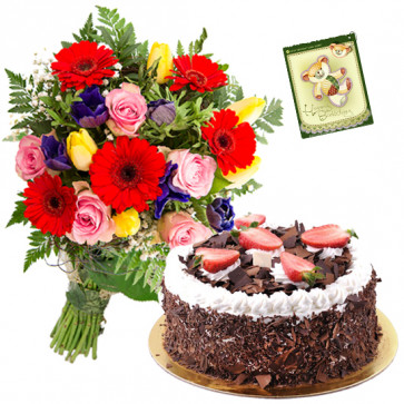Attachment Enhanced - 15 Mix Flowers Bunch, 1/2 Kg Cake + Card