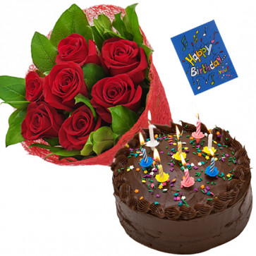 Feel of Love - 6 Red Roses Bunch, 1/2 Kg Chocolate Cake + Card