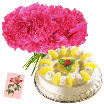 Inclined to Joy - 25 Pink Carnations Bunch, 1 Kg Pineapple Cake + Card