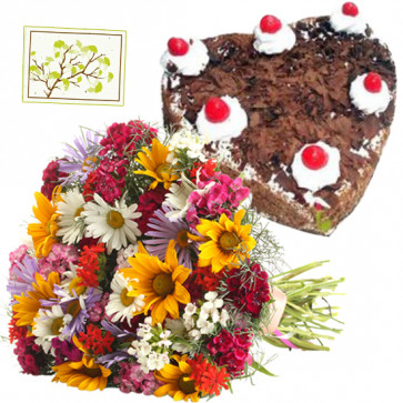 Love Struck - 20 Mix Carnations Bunch, 1.5 Kg Black Forest Cake Heart Shape + Card