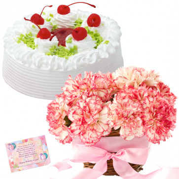 Emotion of Joy - 10 Pink Carnations in Basket, 1/2 Kg Vanilla Cake + Card