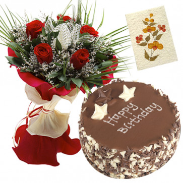 Devoted to Love - 6 Red Roses Bunch, 1 Kg Cake + Card