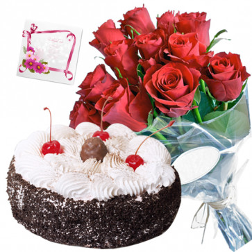 Cool Gift - 12 Red Roses Bunch, 1 Kg Cake + Card
