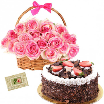 Marvelous Thought - 15 Pink Roses Basket, 1/2 Kg Black Forest Cake + Card