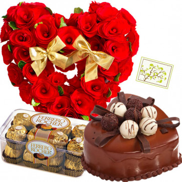 Pretty Gift - Heart Shaped Arrangements 50 Red Roses, 1.5 kg Chocolate Cake Heart Shape, Ferrero Rocher 16 pcs + Card