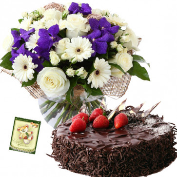 Wonderful Joy - 5 Orchids with 15 Mix White Flowers in Vase, 1/2 Kg Chocolate Cake + Card
