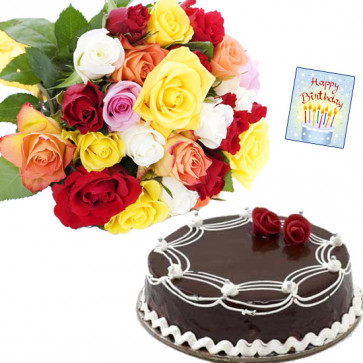 Divine Experience - 12 Mix Roses, 1 Kg Cake + Card