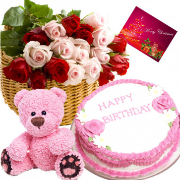 Excellence - 20 Red and Pink Roses in Basket, 1 Kg Cake, Teddy Bear 6 inch + Card