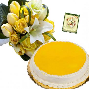 Ravishing Treat - 15 White and Yellow Flowers, 1/2 Kg Pineapple Cake + Card