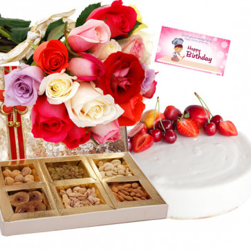 Sublime Presents - 15 Mix Roses, 1/2 Kg Cake,  Assorted Dry Fruits + Card