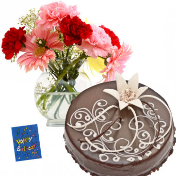 Awesome Gifts - 12 Mix Carnation in Vase, 1/2 Kg Chocolate Cake + Card