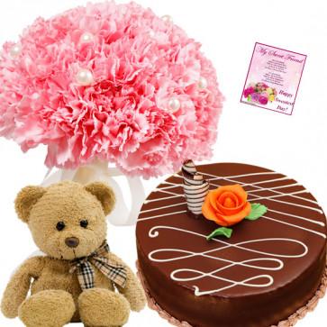 Incredible Choice - 12 Pink Carnations Bunch, 1/2 Kg Cake, Teddy Bear 6 inch + Card