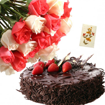 Stunning Hamper - 12 Pink and White Roses, 1/2 Kg Chocolate Cake + Card