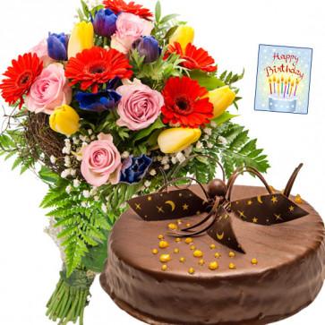 Unbelievable Joy - 15 Exotic Flowers, 1/2 Kg Chocolate Cake + Card