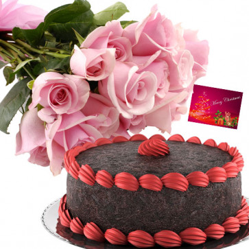 Fascinating Gifts - 25 Pink Roses, 1/2 Kg Chocolate Cake + Card