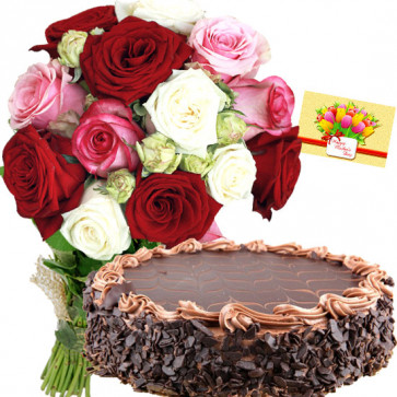 Breathtaking Delight - 20 Mix Roses, 1/2 Kg Chocolate Cake + Card