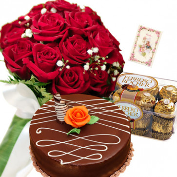 Unusual Thought - 10 Red Roses, 1/2 Kg Chocolate Cake, Ferrero Rocher 16 pcs + Card