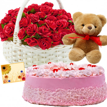 Outstanding Presents - 50 Red Roses Basket, 1/2 Kg Strawberry Cake,  Teddy Bear 6 inch + Card
