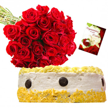 Irresistible Treat - 25 Red Roses Bunch, 1/2 Kg Pineapple Cake + Card