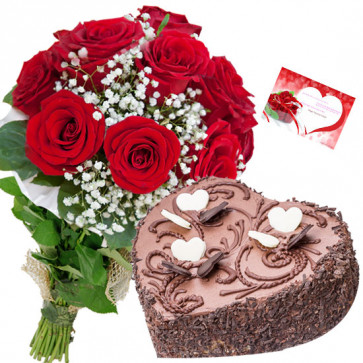 Arresting Feelings - 10 Red Roses Bunch, 1.5 Kg Chocolate Cake Heart Shape + Card