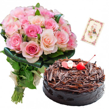 Charming Treat - 16 Pink Roses Bunch, 1 Kg Cake + Card
