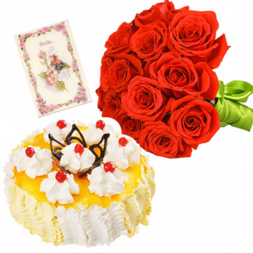 Likable By All - 18 Red Roses Bunch, 1/2 Kg Pineapple Cake + Card