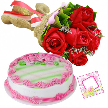 Pure Love - 6 Red Roses Bunch, 1/2 Kg Strawberry Cake + Card