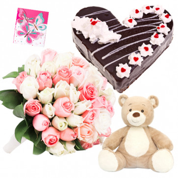 Sweet Innocence - 15 Pink and White Roses Bunch, 1/2 Kg Black Forest Cake, Teddy Bear 6 inch + Card