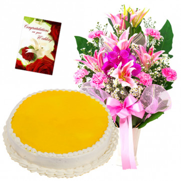 Winning your Heart - 15 Pink Mix Flowers Vase, 1/2 Kg Pineapple Cake + Card