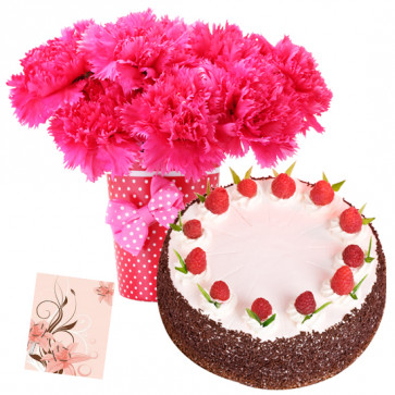 Amusing Hamper - 10 Pink Carnations Vase, 1/2 Kg Strawberry Cake + Card