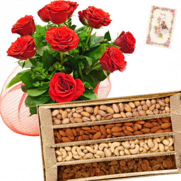 Rose with Dry Fruits - Bunch of 25 Red Roses, Assorted Dryfruits in Box 500 gms & Card