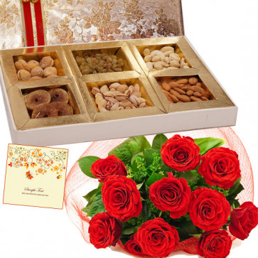Delicate Treat - Bunch of 10 Red Roses, Assorted Dry Fruits Box 1 Kg & Card