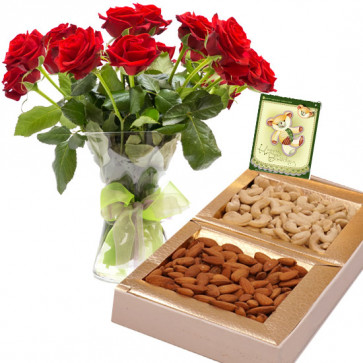 Rose Delight - 12 Red Roses in Vase, Almond & Cashew 400 gms Box & Card