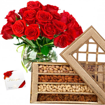 Make the Day - 20 Red Roses in Vase, Assorted Dryfruits in Box 1 Kg & Card