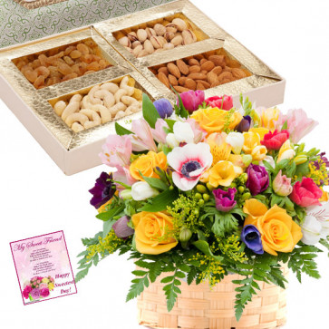Exotic Flower Basket - 20 Seasonal Exotic Flowes in Basket, Assorted Dryfruits in Box 200 gms & Card