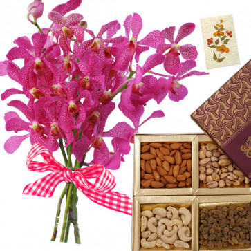 Love & Regards - 6 Pink Orchids Bunch, Mixed Dryfruits Box 500 gms & Card