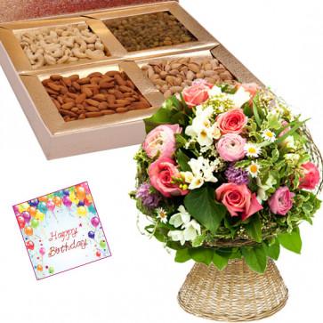 Seasonal Hamper - Basket of 25 Mix Seasonal Flowers, Assorted Dryfruits in Box 400 gms & Card