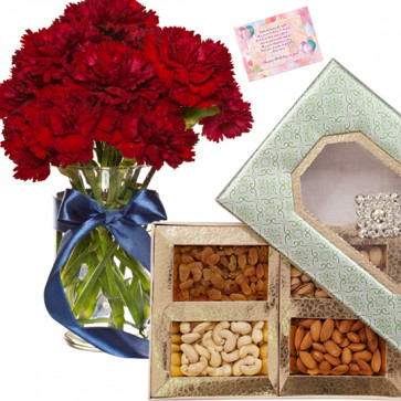 Extra Oridinary Hamper - 15 Red Carnations Vase, Assorted Dryfruits in Box 500 gms & Card