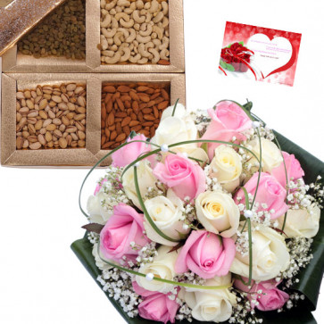 Refresh Your Feelings - Bouquet of 12 Pink and White Roses, Assorted Dryfruits in Box 500 gms & Card