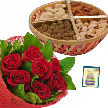 Perfect for All - Bunch of 10 Red Roses, Mixed Dryfruits Basket 200 gmss & Card