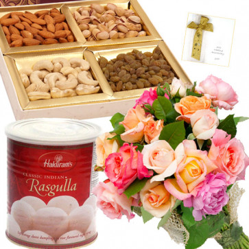 Lets Celebrate - Bunch of 15 Mix Roses, Assorted Dryfruits Basket 200 gms, Rasgulla 500 gms & Card
